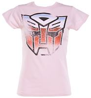 Ladies Pink Transformers Autobot T-Shirt