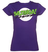 Ladies Purple Big Bang Theory Bazinga Logo T-Shirt