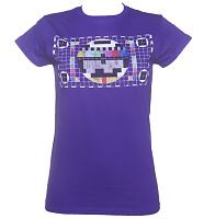 Ladies Purple Retro TV Test Pattern T-Shirt