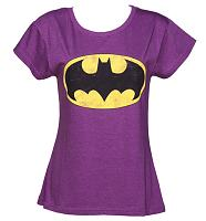 Ladies Purple Scoop Neck Batman T-Shirt from Fabric Flavours