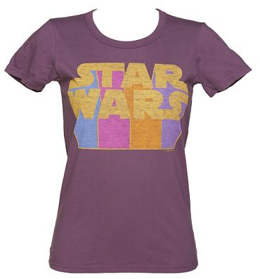 Ladies Purple Star Wars Retro Logo T-Shirt from Junk Food