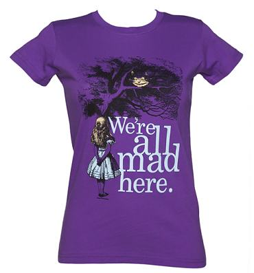Ladies Purple We're All Mad Here Alice In Wonderland T-Shirt
