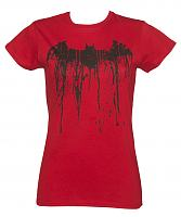 Ladies Red Batman Graffiti Logo T-Shirt