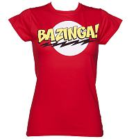 Ladies Red Bazinga Big Bang Theory T-Shirt