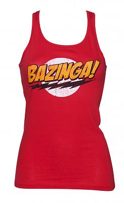 Ladies Red Bazinga Logo Big Bang Theory Racer Vest
