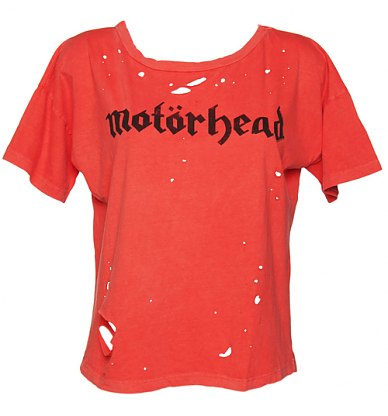Ladies Red Destroyed Motorhead Boxy TShirt