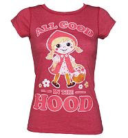 Ladies Red Marl It's All Good In the Hood Vintage T-Shirt