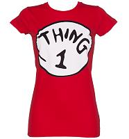 Ladies Red Thing 1 Dr Seuss T-Shirt