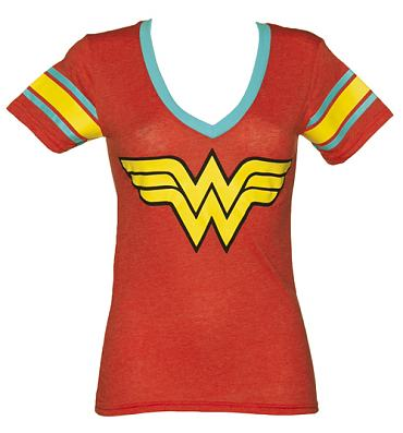Ladies Red Wonder Woman V-Neck T-Shirt