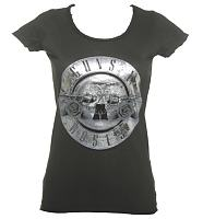 Ladies Silver Foil Guns N Roses Drum Logo T-Shirt from Amplified Vintage
