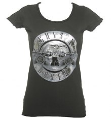 Ladies Silver Foil Guns N Roses Drum Logo T-Shirt from Amplified Vintage [View details]