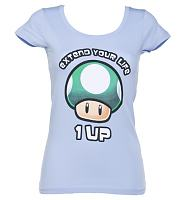 Ladies Sky Blue Nintendo Mushroom Extend Your Life T-Shirt