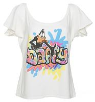 Ladies Slouch Neck 90's Graffiti Daffy Duck T-Shirt from Junk Food