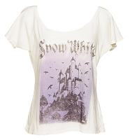 Ladies Snow White Castle Off the Shoulder Vintage T-Shirt from Junk Food