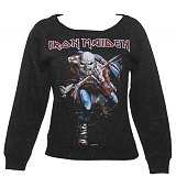 Ladies Black Speckled Iron Maiden Trooper Sweater from Amplified Vintage