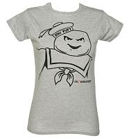 Ladies Stay Puft Outline Ghostbusters T-Shirt