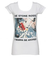 Ladies Stone Roses Wanna Be Adored White T-Shirt from Amplified Vintage [View details]