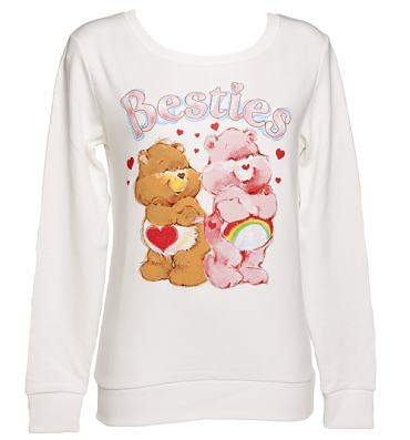 Ladies Sugar White Care Bears Besties Sweater
