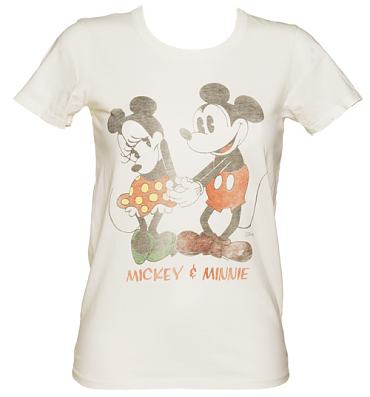 Ladies Sugar White Cute Mickey And Minnie T-Shirt from Junk Food