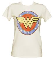 LIMITED EDITION Ladies Sugar White Distressed Wonder Woman Logo T-Shirt from Junk Food