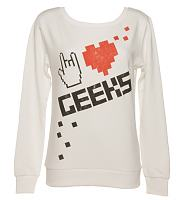 Ladies Sugar White I Love Geeks Sweater
