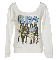 Ladies Sugar White Kiss Off The Shoulder Sweater from Junk Food [View details]