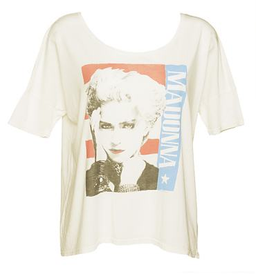Ladies Sugar White Madonna Boxy Oversized Slouch T-Shirt from Junk Food