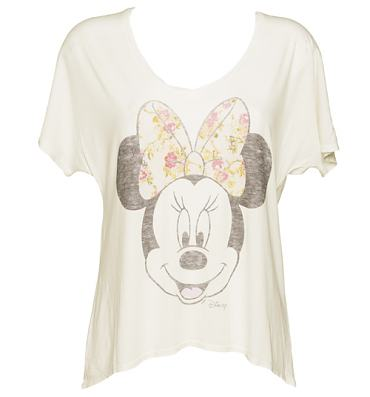 Ladies Sugar White Minnie Mouse Floral Bow Oversized V-Neck T-Shirt from Junk Food