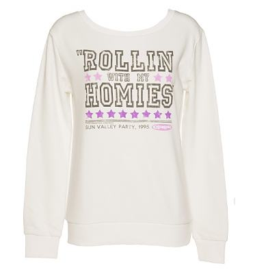 Ladies Sugar White Rollin With My Homies Clueless Sweater