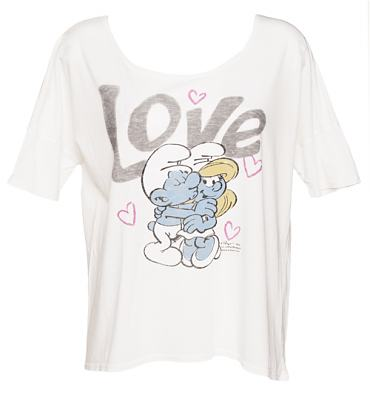 Ladies Sugar White Smurfs Love Slouch T-Shirt from Junk Food