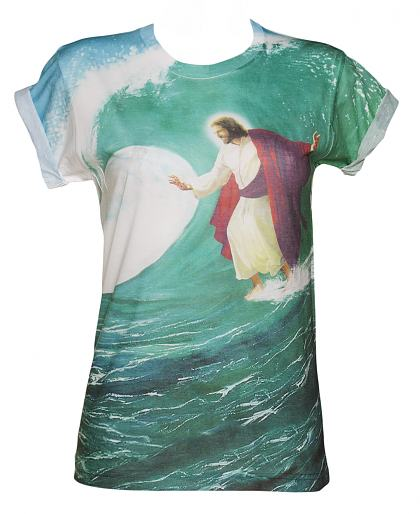 Ladies Surfs Up Jesus Sublimated Boyfriend T-Shirt from Dirty Cotton Scoundrels