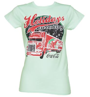 Ladies Teal Coca Cola Holidays Are Coming Truck T-Shirt