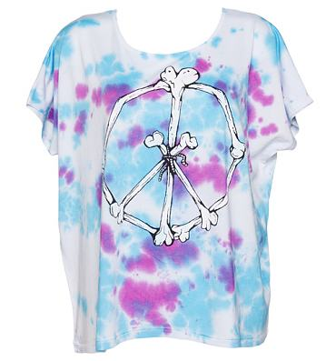 Ladies Tie Dye 90's Peace And Bones Drapey T-Shirt from Worn By