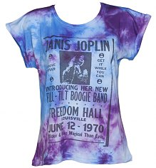Ladies Tie Dye Janis Joplin Poster Boyfriend T-Shirt from Worn By [View details]