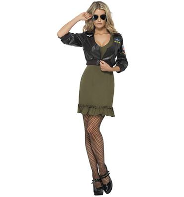Ladies Top Gun Dress and Jacket Fancy Dress Costume