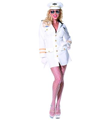 Ladies Top Gun Officer Fancy Dress Costume