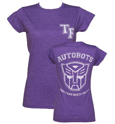 Ladies Purple Marl Transformers Autobots More Than Meets The Eye Varsity T-Shirt