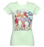 Ladies Turquoise Fraggle Rock Characters T-Shirt