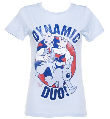 Ladies Wallace and Gromit Dynamic Duo T-Shirt from Too Late To Dye Young