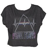 Ladies Dark Heather Pink Floyd dark Side Of the Moon Cropped Slouch T-Shirt from Junk Food