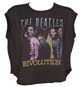 Ladies Washed Black The Beatles Revolution Cropped T-Shirt from Junk Food