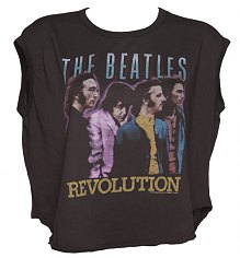 Ladies Washed Black The Beatles Revolution Cropped T-Shirt from Junk Food [View details]