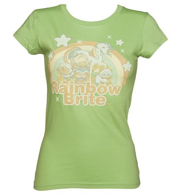 Ladies Washed Green Vintage Print Rainbow Brite T-Shirt