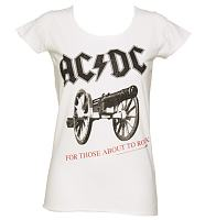 Ladies White AC/DC For Those About To Rock T-Shirt from Amplified Vintage