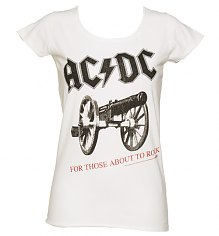 Ladies White AC/DC For Those About To Rock T-Shirt from Amplified Vintage [View details]