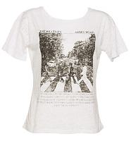 Ladies White Abbey Road Oversized Boxy Burnout Beatles T-Shirt