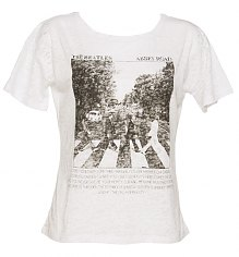 Ladies White Abbey Road Oversized Boxy Burnout Beatles T-Shirt [View details]