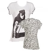 Ladies White Axl Rose Leopard Sleeves Guns N Roses Boyfriend T-Shirt from Worn By