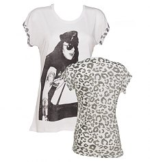 Ladies White Axl Rose Leopard Sleeves Guns N Roses Boyfriend T-Shirt from Worn By [View details]