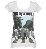 Ladies White Beatles Abbey Road T-Shirt from Amplified Vintage